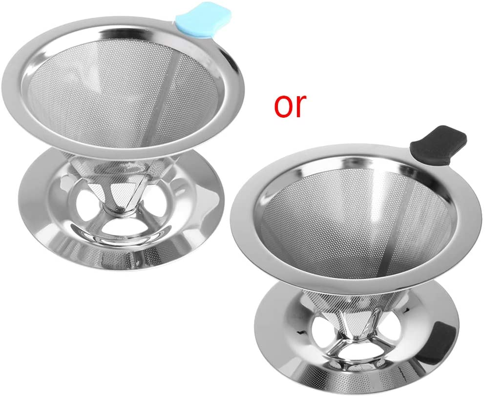 minansostey Portable Metal Stainless Steel Coffee Filter Funnel/V-type Cup Filters Tea Tool