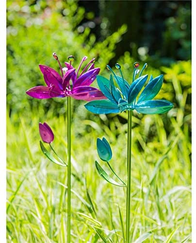 New Creative Evergreen Garden Spinning Blooms Metal and Plastic Wind Spinners, Set of 2