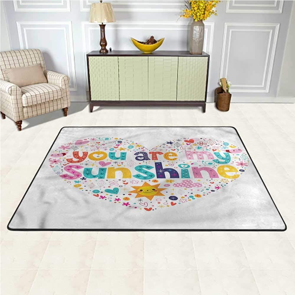 Carpet Quote, for Kids Heart Shaped Shag Throw Rug Decorative Floor and Best Gift for Children 7 x 7 Feet