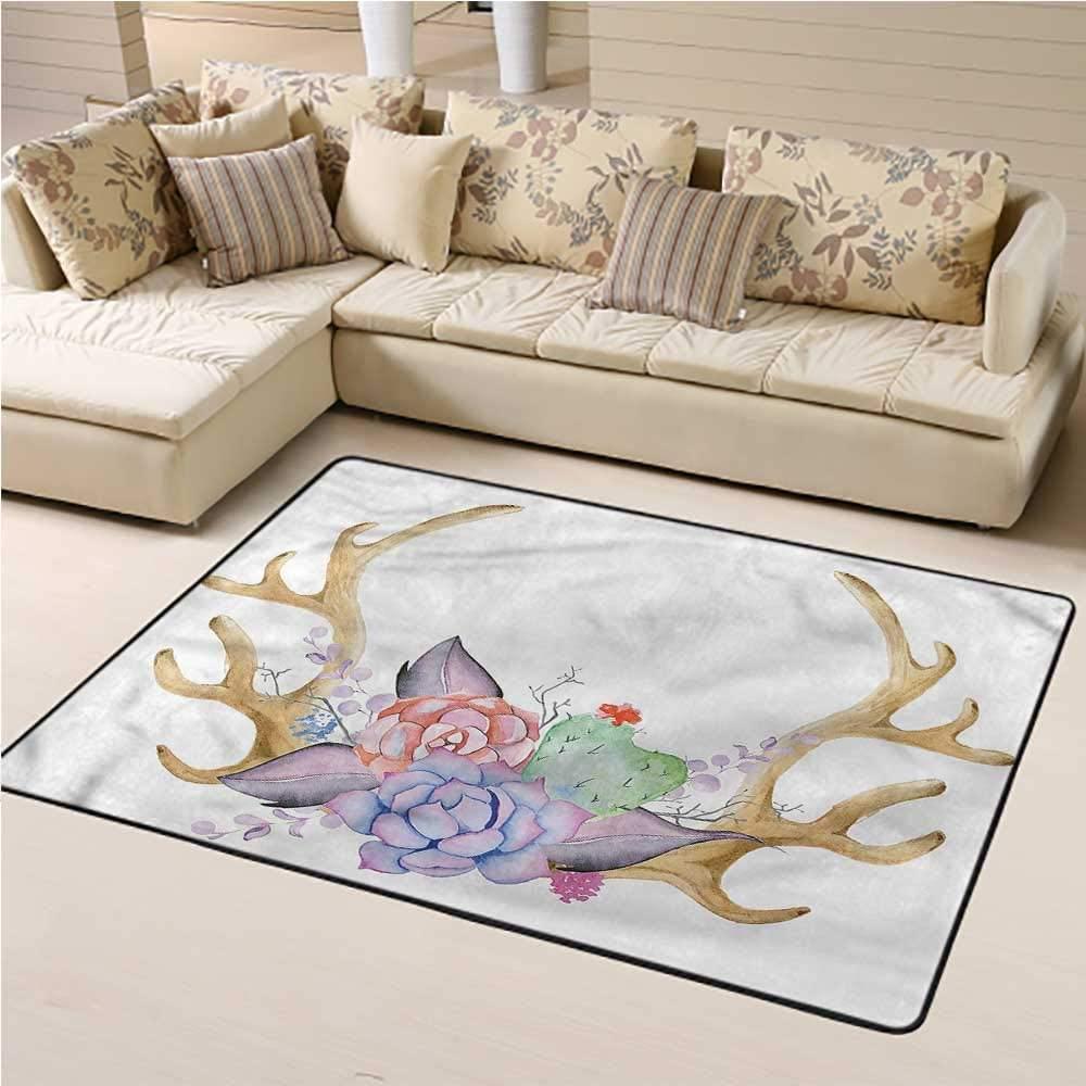 Rugs Antler, Hand Painted Deer Horns Kids Dorm Floor Mat for Bedroom Kids Room 5 x 8 Feet