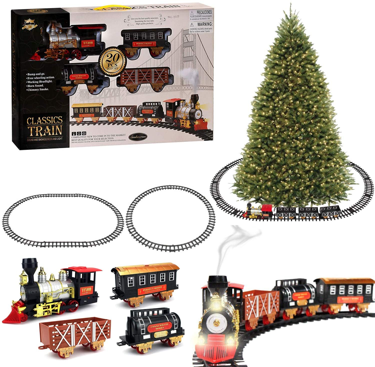 Adventure Toys Christmas Train Set for Under The Tree with Smoke Lights Sounds for Kids