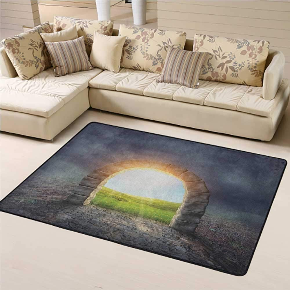 Kids Rug Fantasy for Boys and Girl Room Mysterious Entrance to New Life Theme with Greenland Wildflowers and Sunbeams 2 x 3 Ft Green Yellow