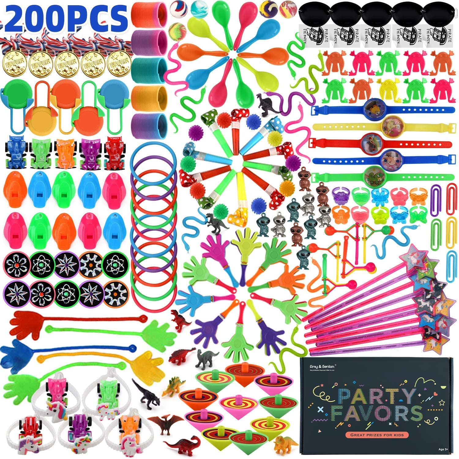 Amy&Benton 200PCS Goodie Bag Fillers Party Favors for Kids Birthday Pinata Filler Toy Assortment Prizes for Kids Classroom Rewards