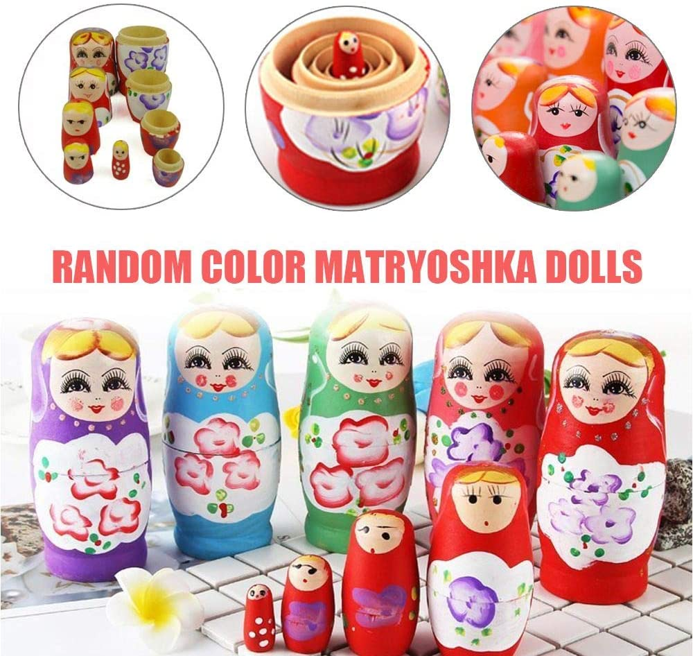 DAWEIF 5pcs/Set Novelty Wooden Baby Toy Hand Painted Russian Girl Ornament Baby Toy Matryoshka Nesting Dolls
