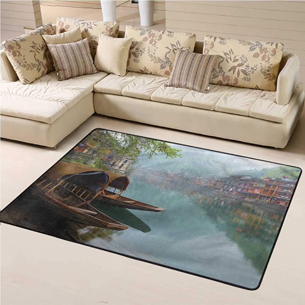 Printed Rug Ancient China Kids Play Rug Town with Mountains 3 x 5 Rectangle
