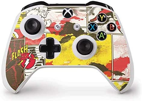 Skinit Decal Gaming Skin for Xbox One S Controller - Officially Licensed Warner Bros Flash Block Pattern Design