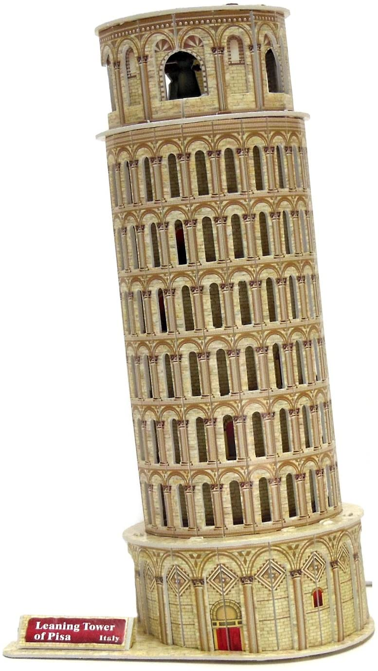 Runsong Creative 3D Puzzle Paper Model Leaning Tower of Pisa DIY Fun & Educational Toys World Great Architecture Series, 16 Pcs