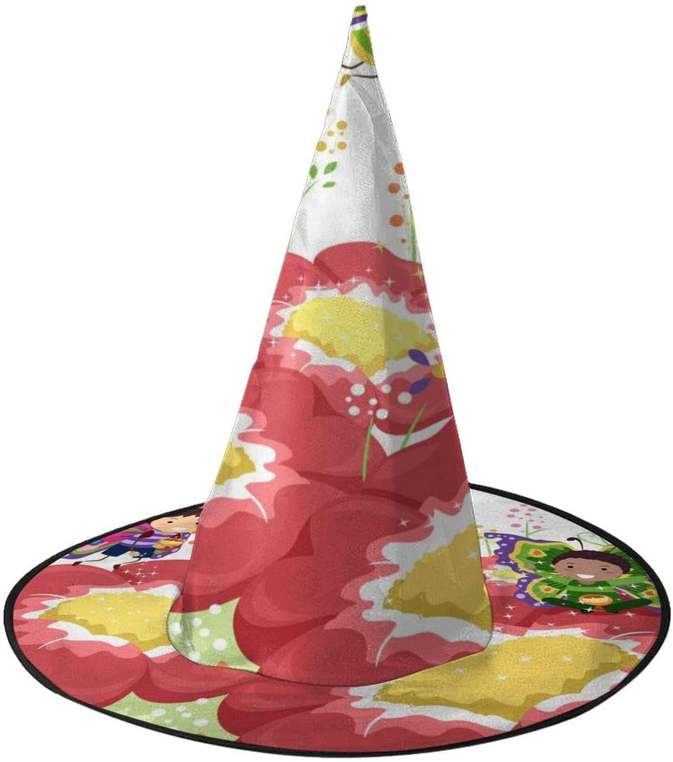 Halloween Costume Witch Hat,Illustration Butterflies Accessory for Holiday Halloween Party