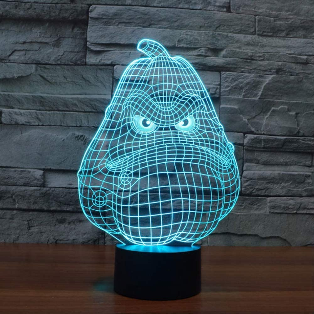 Led Light Wax Gourd 3D Night Light Touch Switch Lamp Creative Small Night Ligh 7 Colors Changing 3D Deco Vision Desk Lampara Decorative Smart Bluetooth 16 Million Colors