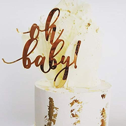 Oh Baby Cake Topper Baby Shower Cake Topper -Acrylic Cake Topper First Birthday Cake Topper - 1st Birthday - Smash Cake Topper - Birthday Decor - Acrylic Cake Topper (Gold wire )