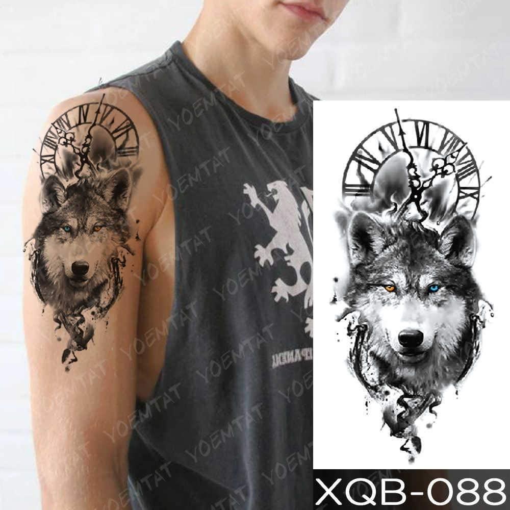 XIMINGJIA Waterproof Temporary Tattoo Sticker Clock Orange Blue Eyes Wolf Flash Tattoos Lion Compass Body Art Arm Fake Tatoo Women Men