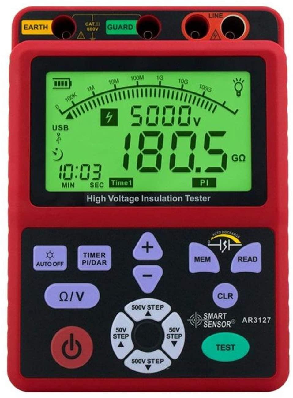 SXM-SXM Digital high voltage insulation resistance tester 5000V shake table electronic table 0.0-99.9G ohm resistor AR3127 Multimeter Tester