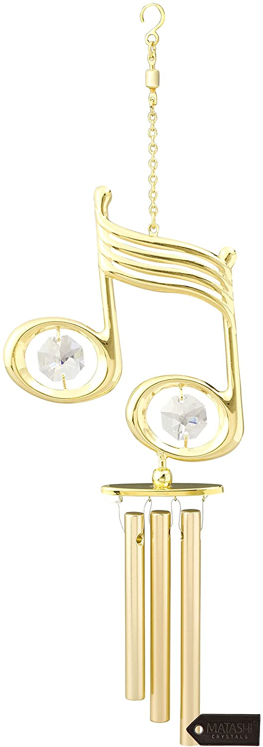 Matashi 24K Gold Plated Musical Note Decorative Wind Chime with Crystals Love Gift for Girlfriend Valentine's Day Birthday Mother's Day Christmas Anniversary Home Decor Housewarming Present