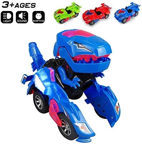 Surper Transforming Dinosaur LED Car Dinosaur Automatic Transforming Car Toy Dino Dinosaur Toy Car for Kids 3+ (Red) (Blue)