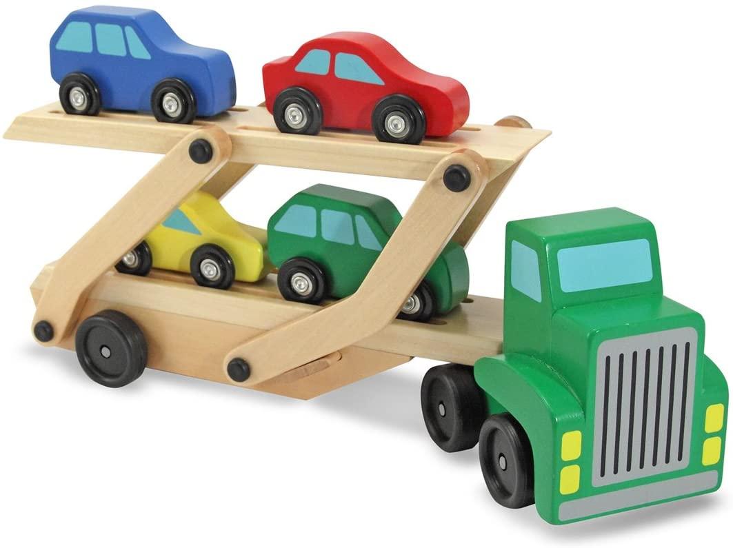 Melissa & Doug Wooden Car Carrier & 1 Scratch Art Mini-Pad Bundle (04096)