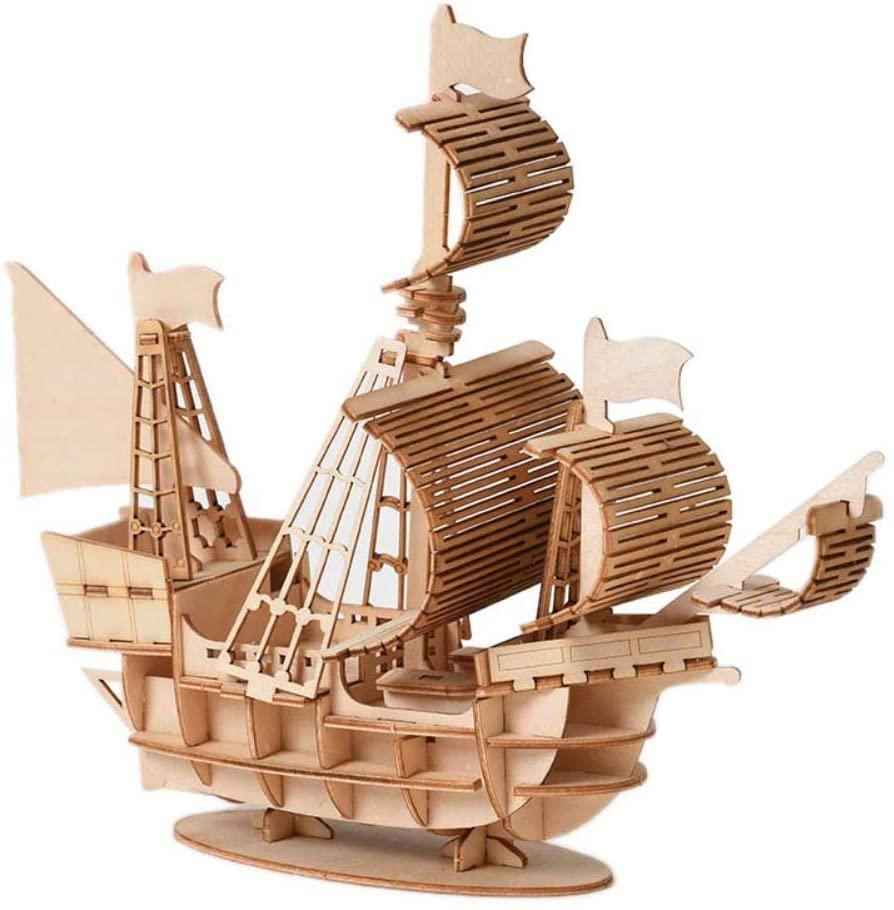 Forart DIY Sailing Ship Model Train Model Kits, Wooden Sailboat Train to Build Decor, Assembling Building Sailing Boat Train Kits for Kids and Adults