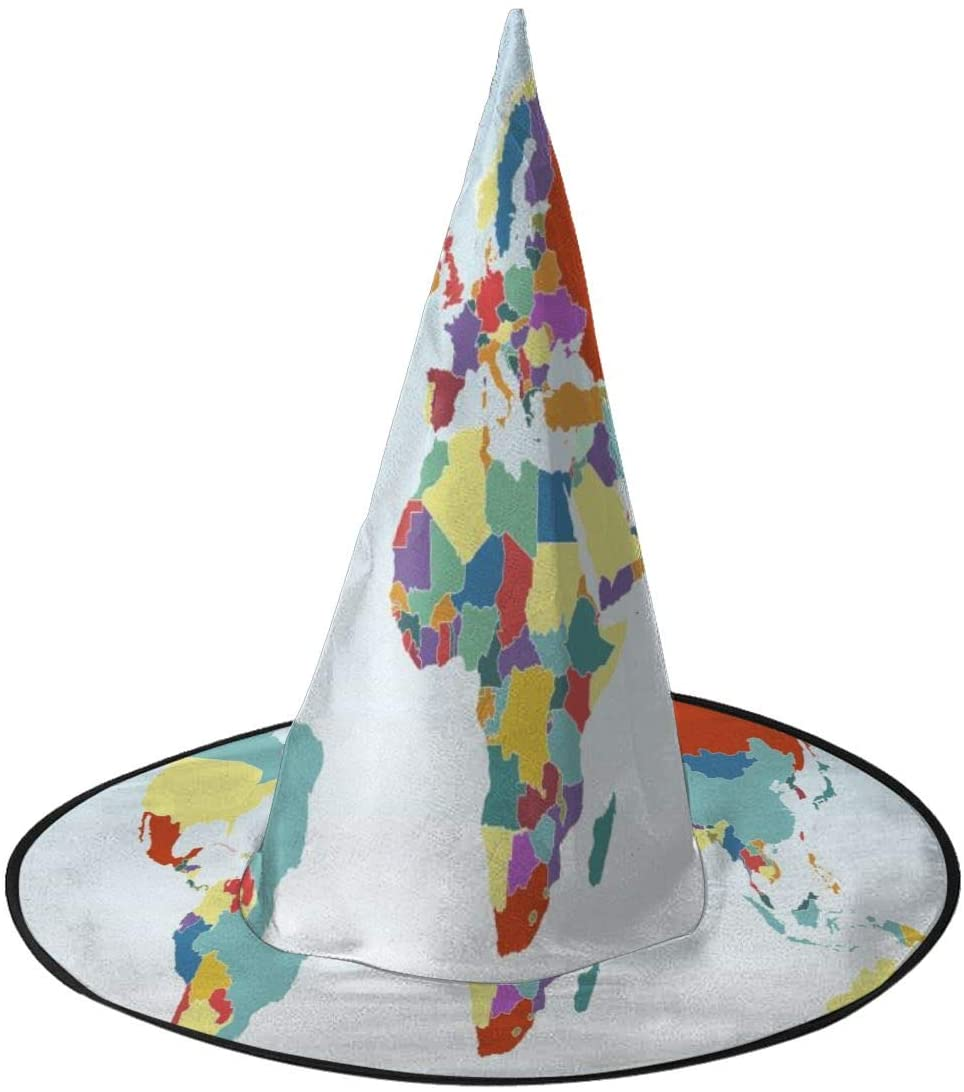 Halloween Witch Hat,Color World Map Vector Halloween Costume Witch Hat for Holiday Party