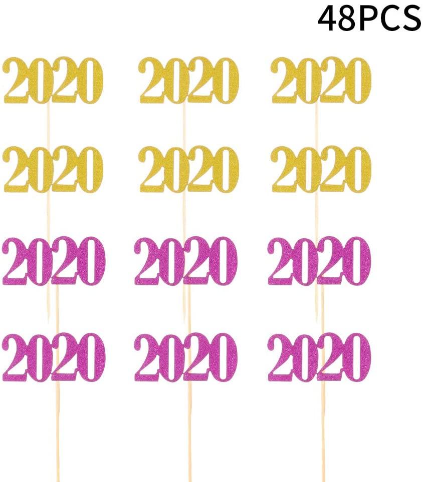 Moguer 2020 Centerpiece Sticks Glitter 2020 for DIY Graduation Centerpiece and Grad Party Decor - Set of 48
