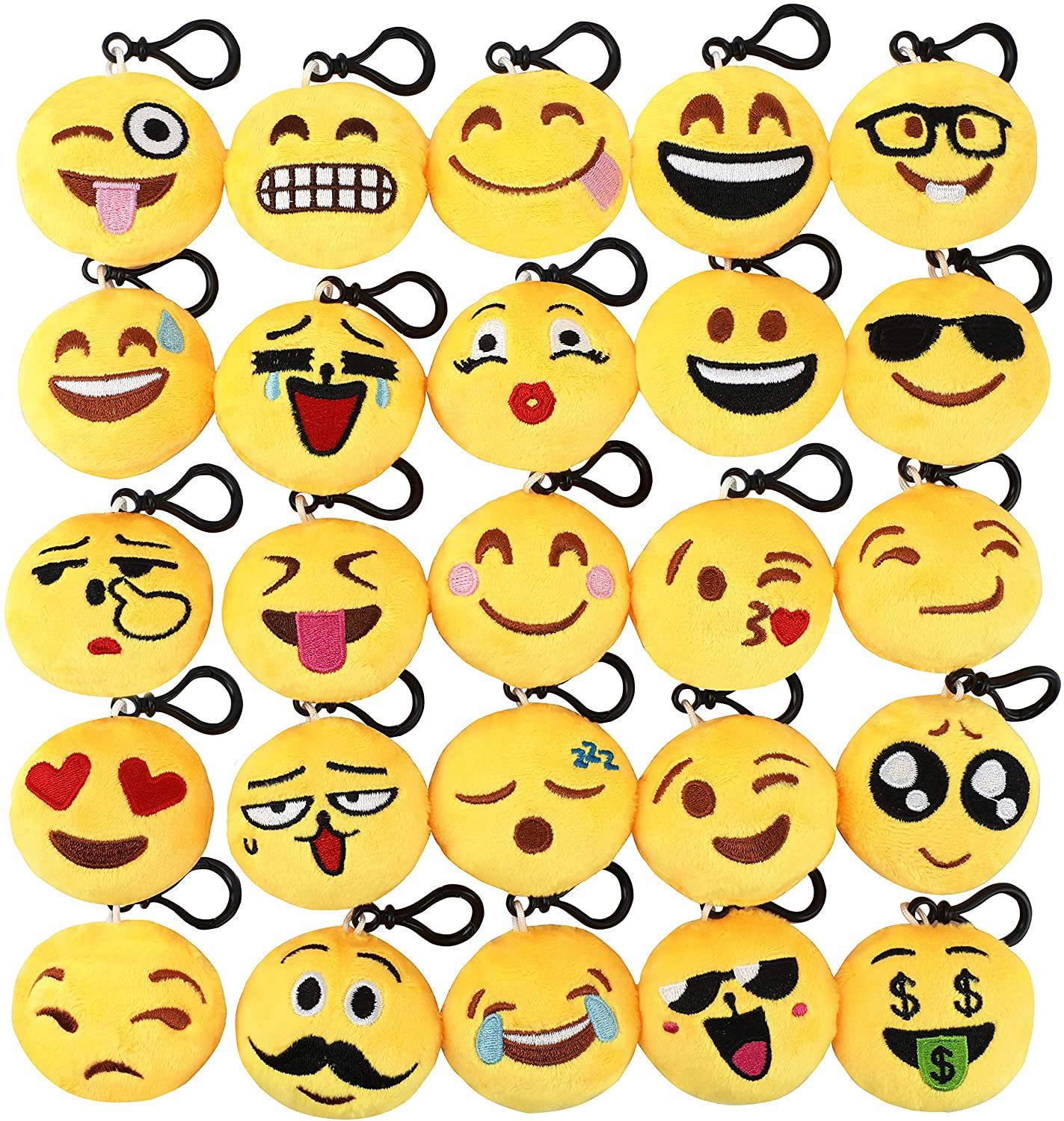 Lenink Emoji Party Supplies,25 Pack Emoji Keychain,Mini Plush Emoji Pillows for Kids Birthday Party,Home Decoration,Classroom Rewards and Party Favors