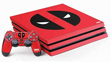 Skinit Decal Gaming Skin for PS4 Pro Console and Controller Bundle - Officially Licensed Marvel/Disney Deadpool Logo Red Design