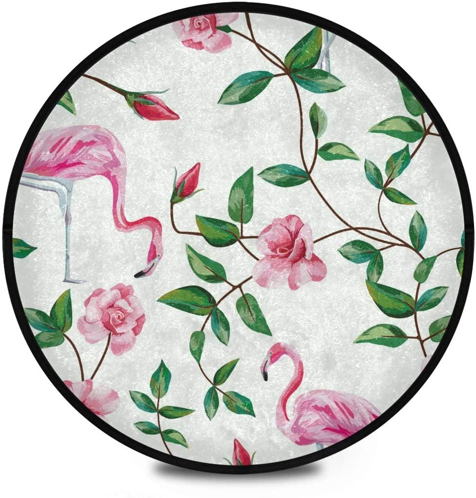 Shaggy Round Mat Flamingo Round Area Rug for Kids Bathroom Anti-Slip Rug Room Carpets Play Mat