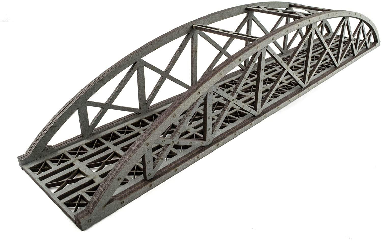 War World Scenics Single Track Hi-Detail Grey Bowstring Bridge 450mm – OO/HO Model Railway Diorama