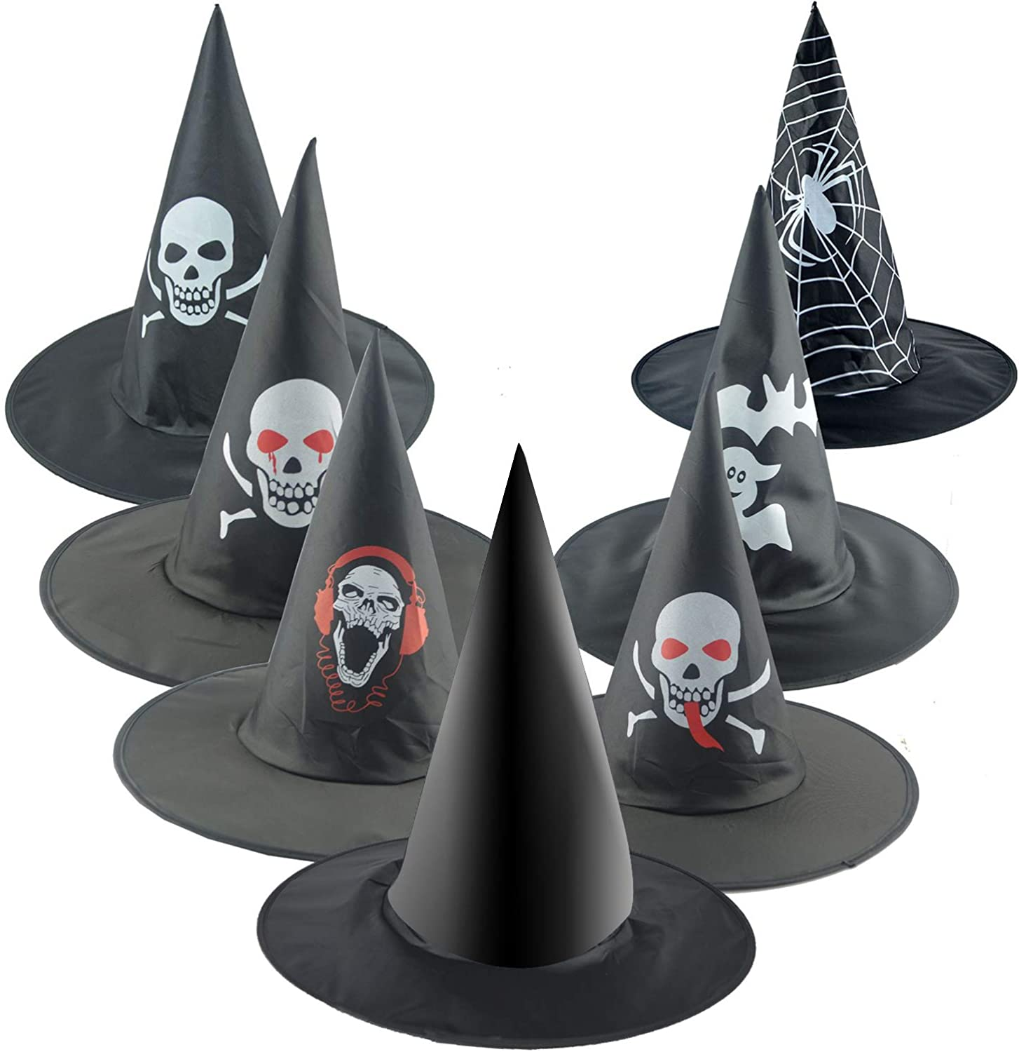 Bcpress 7 Styles Halloween Witch Hat Witch Hat Costume for Halloween Party Cosplay Decoration Black