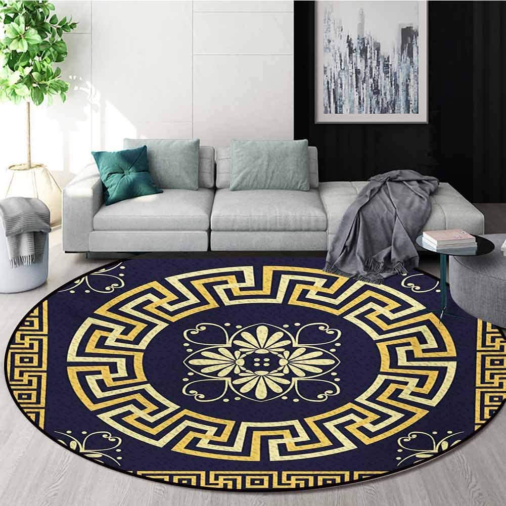 RUGSMAT Greek Key Modern Washable Round Bath Mat,Meander with Spring Inspired Floral Detail Rich and Retro Entangled Maze Non-Slip Bathroom Soft Floor Mat Home Decor,Round-35 Inch