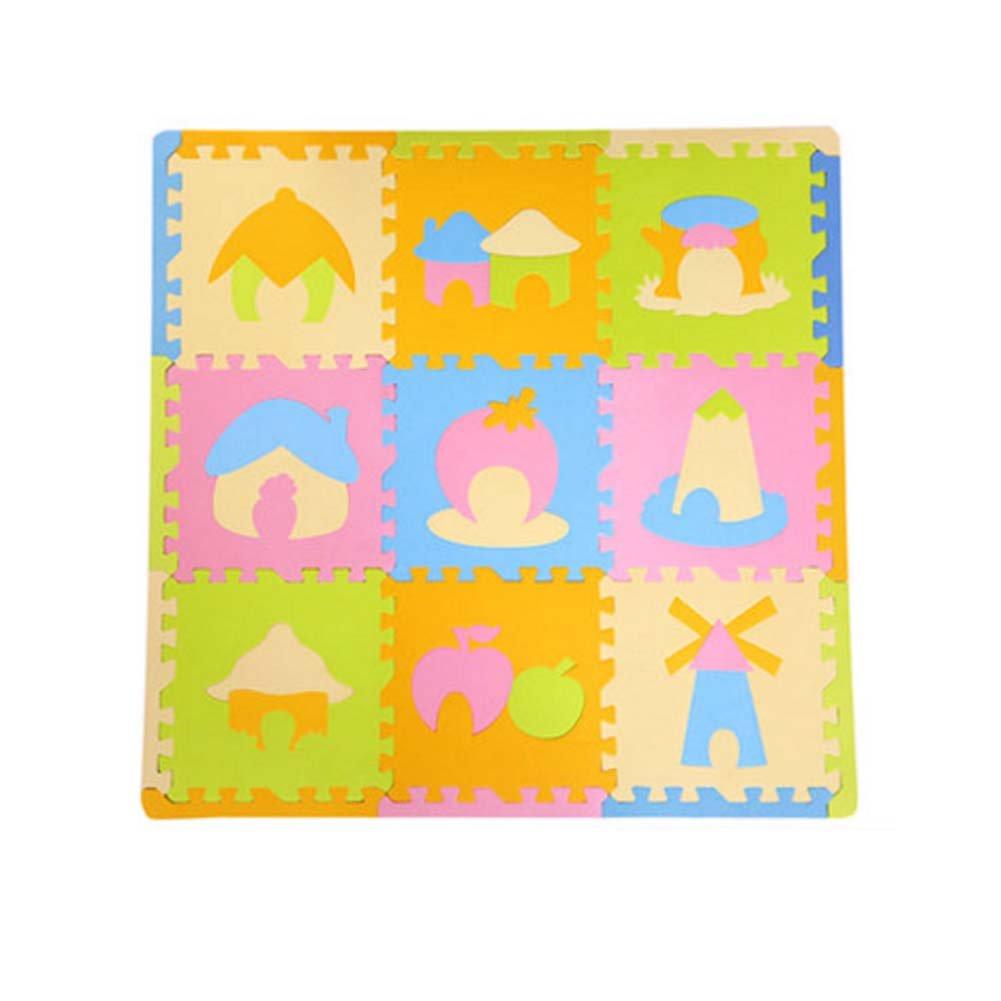 9 Pieces of Waterproof Children Foam Mats Baby Foam Puzzle Play Mat,Castle