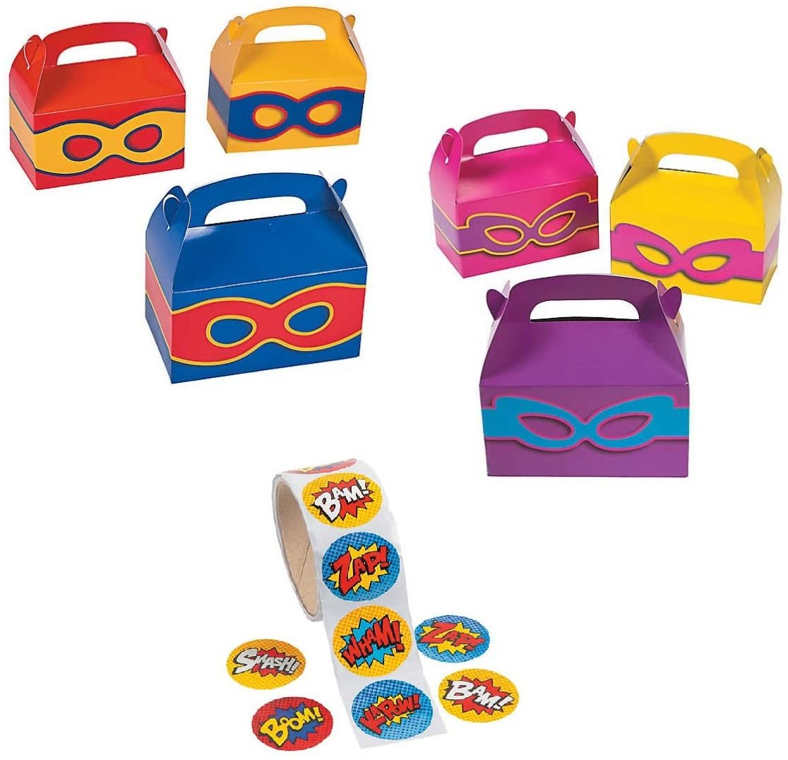 24 - Superhero Boys and Girls Party Favors Treat Boxes with Superhero Stickers Theme Birthday Set