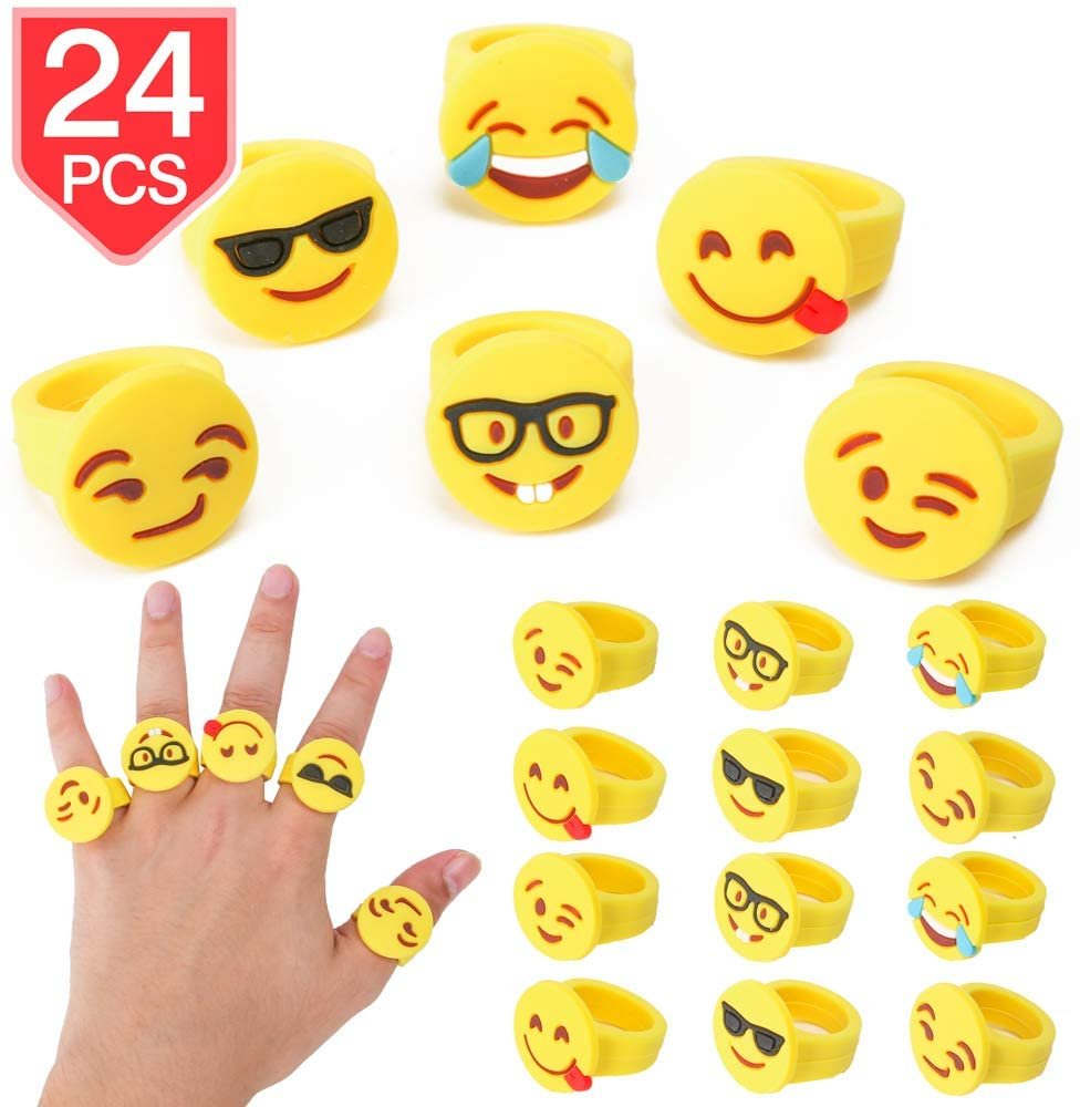 PROLOSO Emoji Rings Rubber Emoji Toy Ring Emoticon Finger Rings Kids Party Favors 24 Pcs