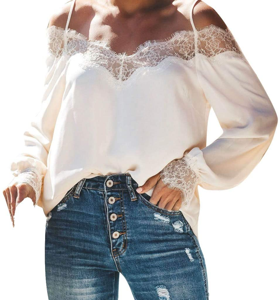 Cegduyi Fashion Womens Camisole Lace Splicing T-Shirt Pure Color Long Sleeves Blouse Tops
