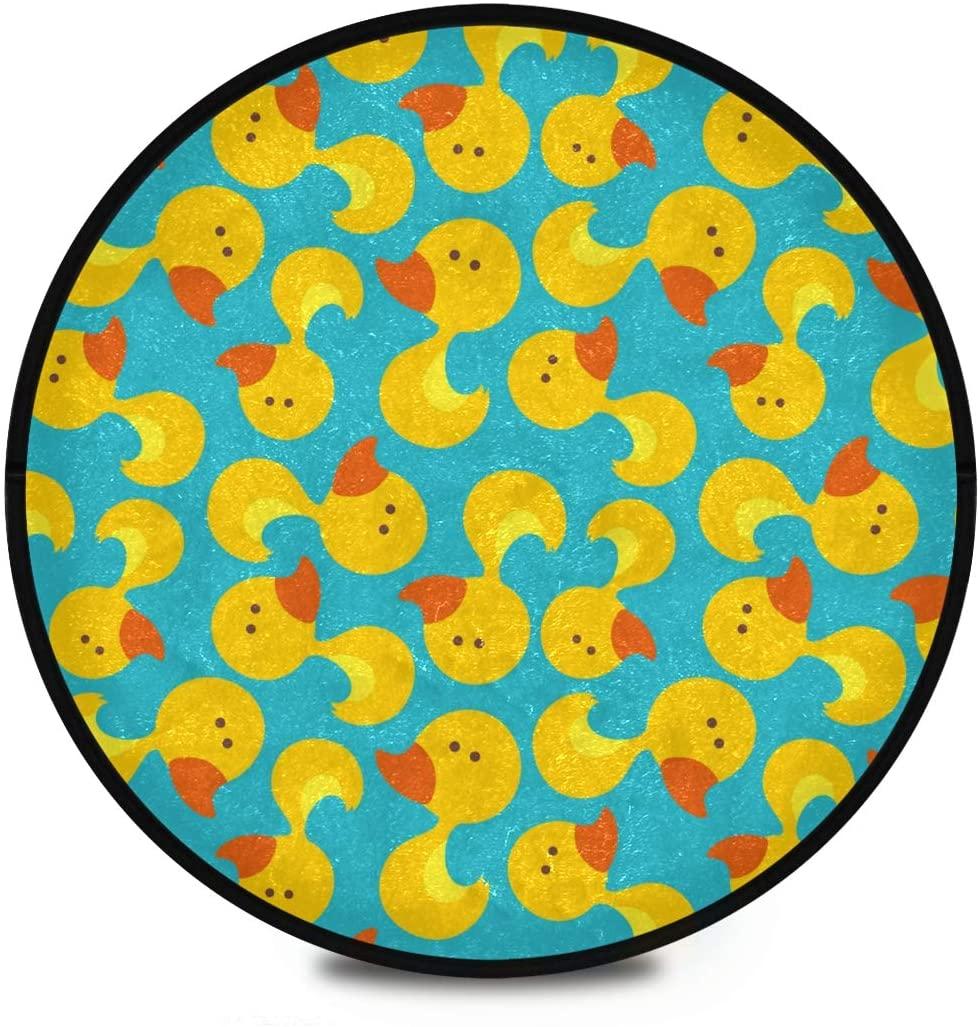 Shaggy Round Mat Cartoon Duck Round Rug for Kids Bedroom Anti-Slip Rug Room Carpets Play Mat