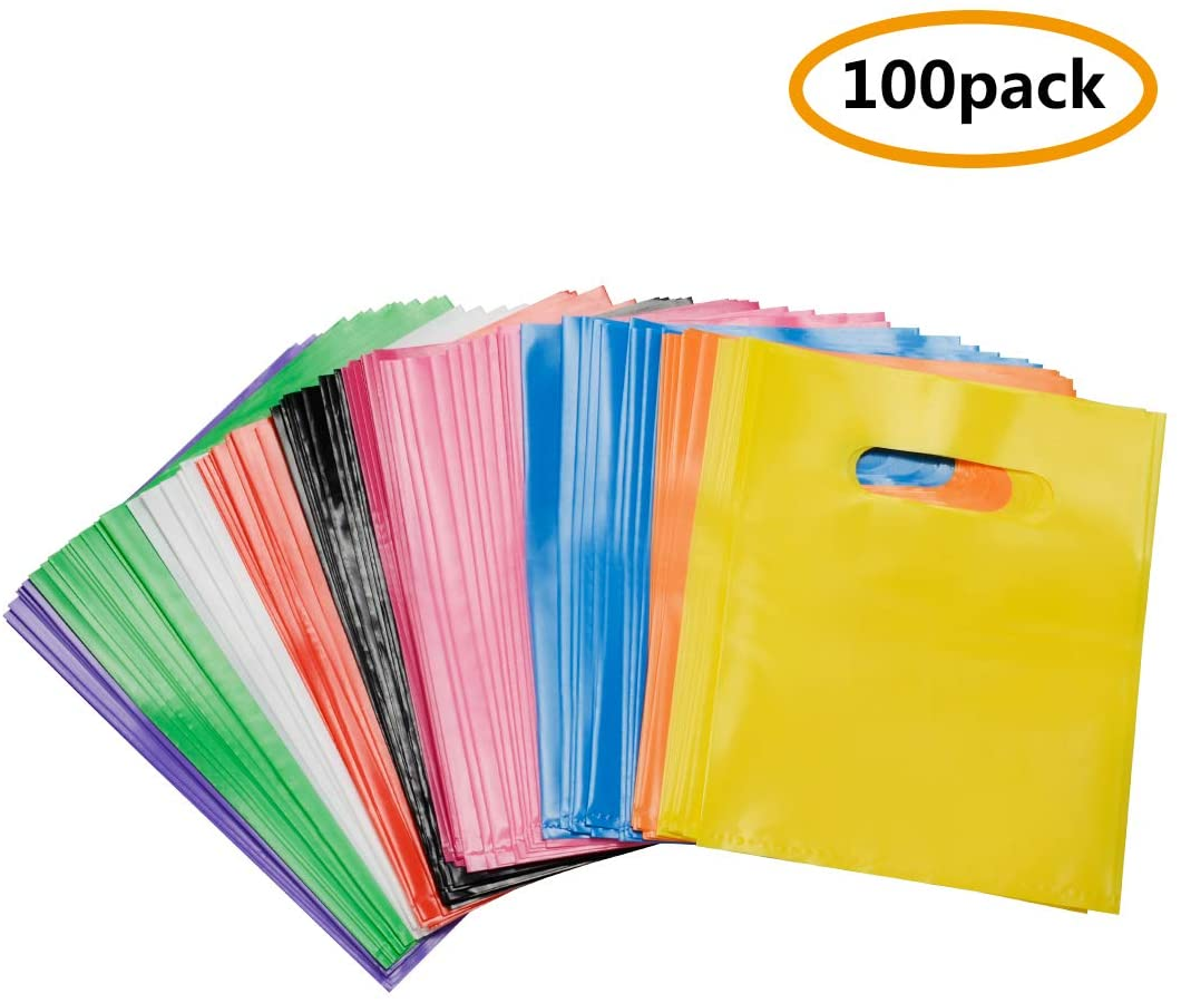 Plastic Favor Bags, Assorted Color Party Favor Bags, Size of 6x8 Inch, Pack of 100Pcs