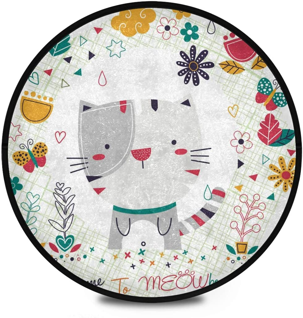 Shaggy Round Mat Cat Floral Small Round Rug for Kids Living Room Anti-Slip Rug Room Carpets Play Mat