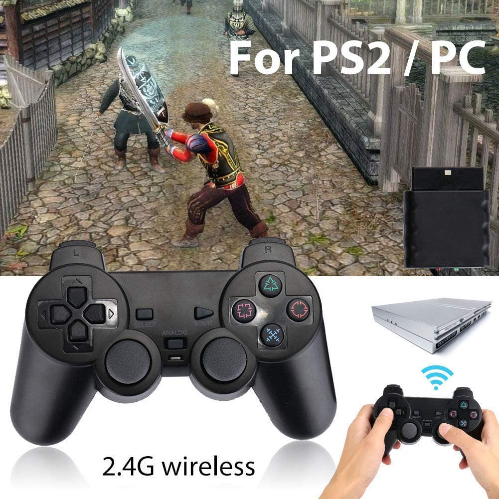 FidgetFidget D0B3 2.4GHz Wireless Dual Vibration Game Controller for PS2 Playstation2 PC