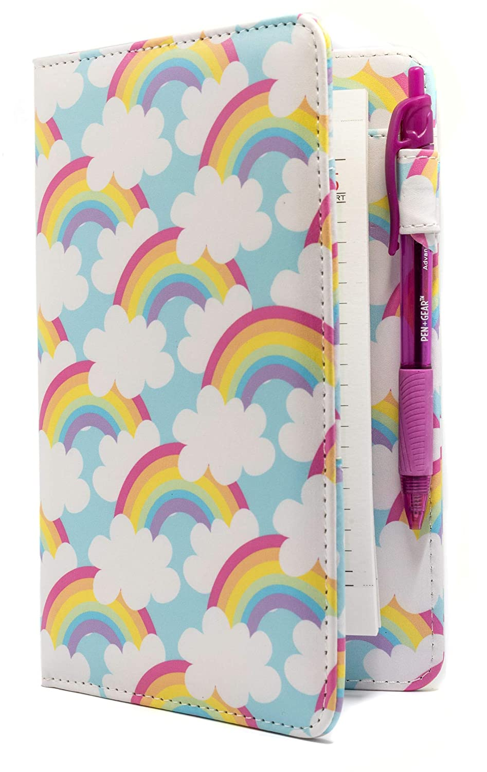 Industry Night Rainbows and Clouds Cute Server Book Organizer/Blue Server Wallet for Waitresses