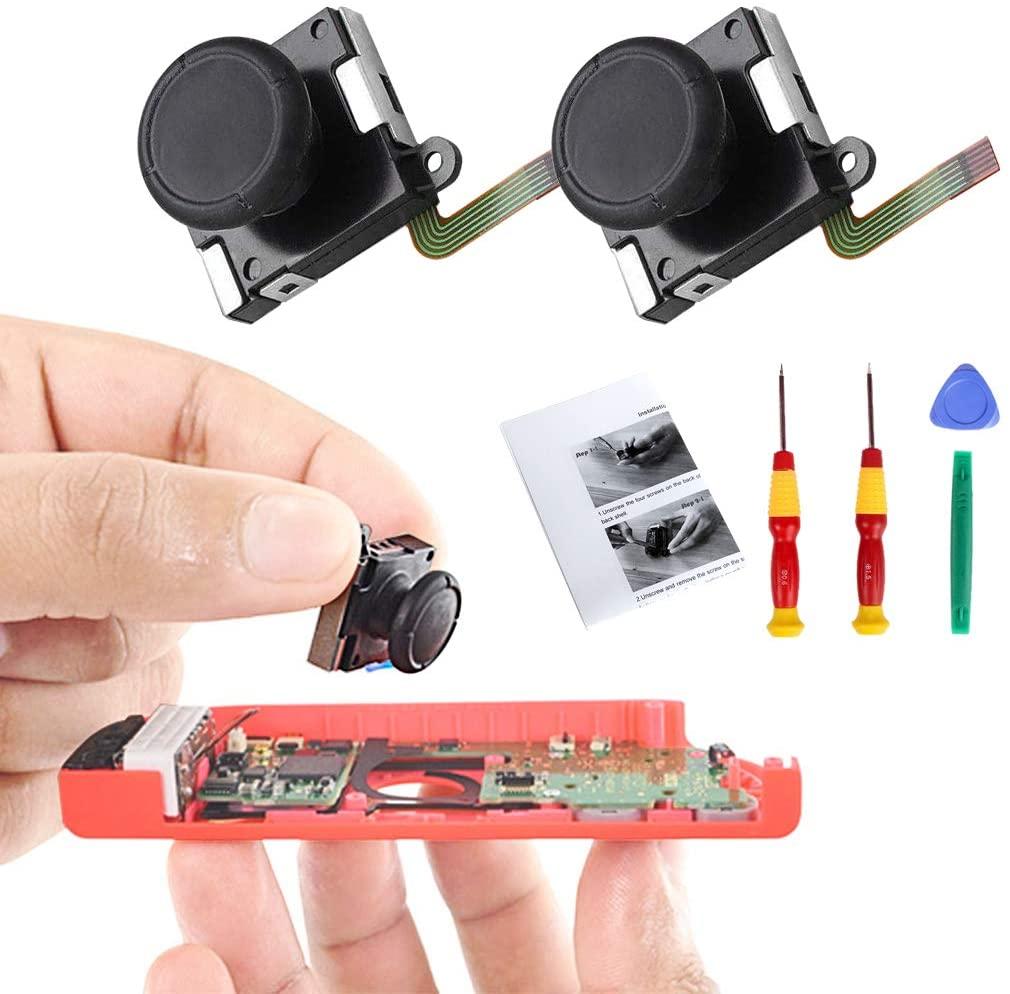 Uyuni 2pcs 3D Analog Joysticks Thumb Sticks for Nintendo Switch Left/Right Joy-Cons Controller Joypad Replacements with Repair Tools & Installation Instruction