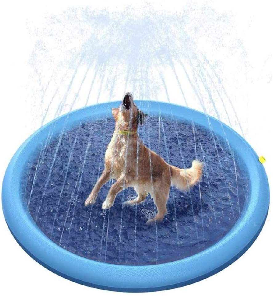 Pet Watering Mat Non-Slip Watering Mat PVC Outdoor Water Toy Lawn Game Mat Spray Pool Splash Pad Inflatable Kids Baby Pool Pad