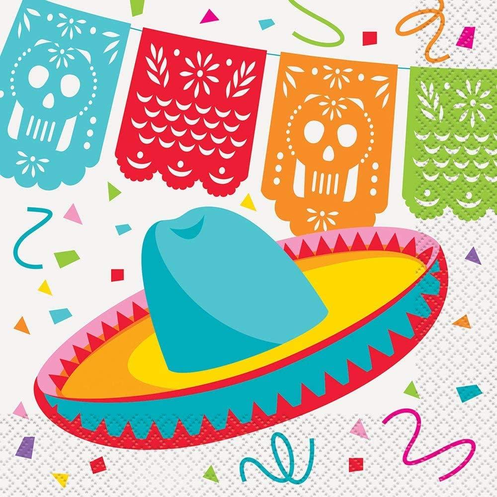 Unique 58682 Mexican Fiesta Luncheon Napkins 6 5 x 6 5 16ct