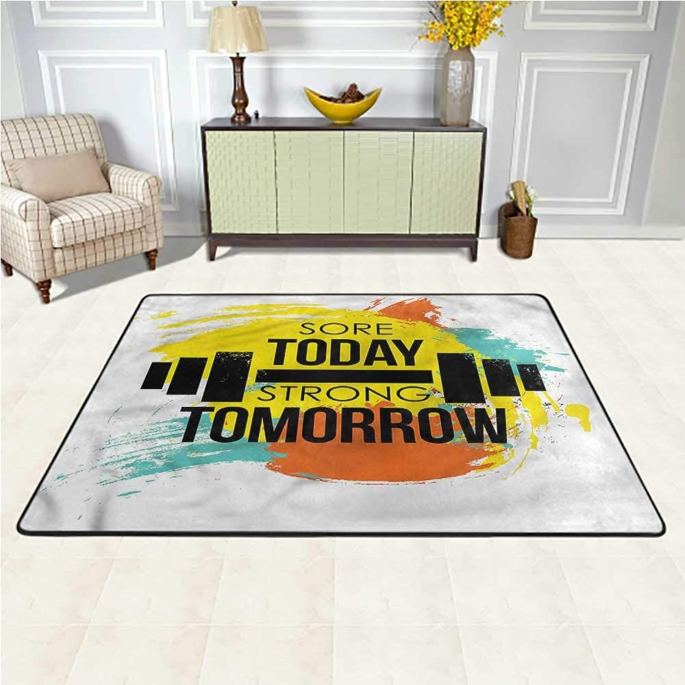 Area Rug Fitness, Artistic Colorful Quote Kids Dorm Floor Mat for Boys and Girls Play and Learn 4 x 4 Feet