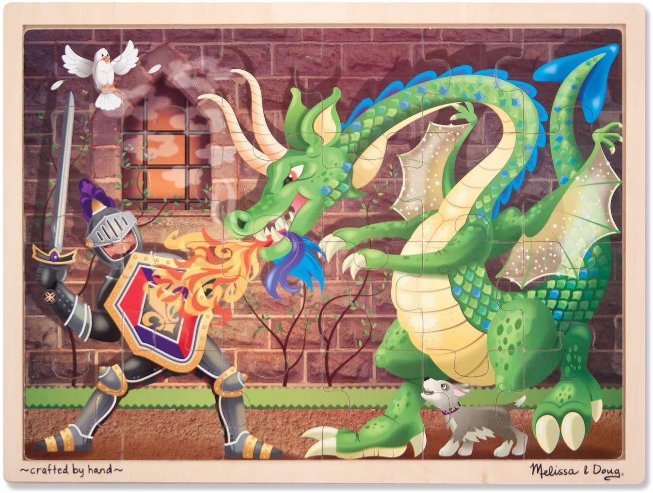 Melissa & Doug Knight vs. Dragon Wooden Jigsaw Puzzle With Storage Tray (48 pcs)