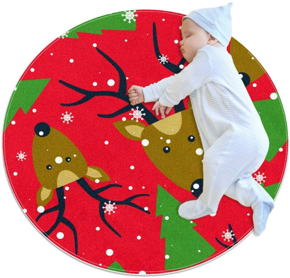 Elk Christmas Tree Snowflake Round Area Rug Home Decorative Carpet Soft and Washable Pad Non-Slip for Kid's Toddler Infants Room 27.6x27.6IN