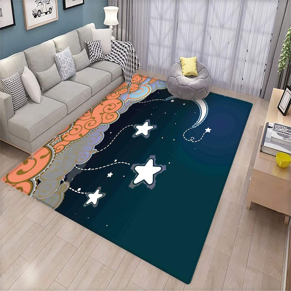 Kids,Custom Pattern Floor mat,Cartoon Style Night Sky with Swirled Clouds Stars and Moon Dotted Lines,Can be Used for Floor Decoration,6'x9.2' Dark Blue White Salmon