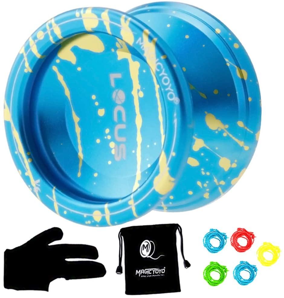 MAGICYOYO Responsive V6 Locus Aluminum Alloy YoYo Star Logo Kids Beginner Learner Yoyo Bag, Yoyo Glove 5 Spinning Strings (Blue Golden)