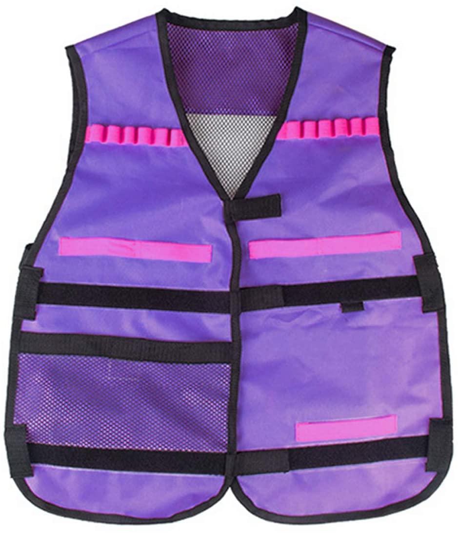 EKIND Kids Elite Tactical Vest Compatible for Nerf Gun N-Strike Elite EVA Series (Purple)