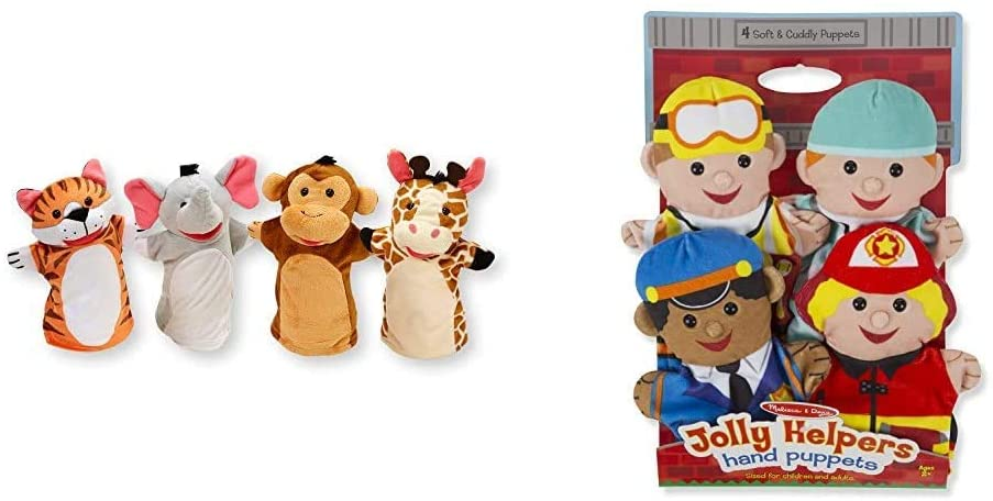 Melissa & Doug Zoo Friends Hand Puppets & Jolly Helpers Hand Puppets - The Original (Set of 4, Construction Worker, Doctor, Police Officer, Firefighter, Great Gift for Girls & Boys)