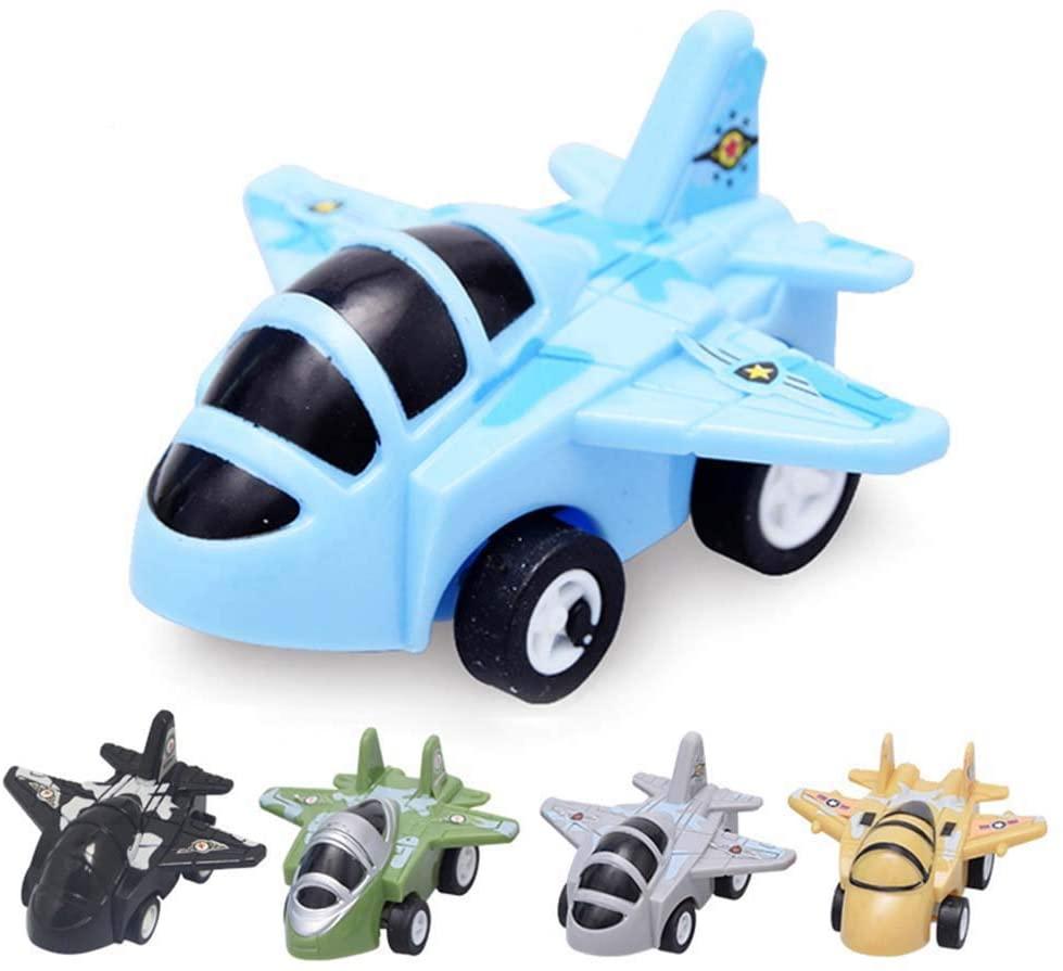 Hosfairy Airplane Toys Toddlers-Set 4Pcs Cartoon Mini Back Small Aircraft Boys Girls - Fun Travel Toys Toy Airplanes (Random Colors)