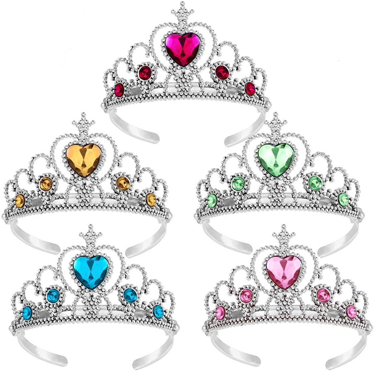 Princess Tiara Crown Set,Girls Dress up Party Accessories,5pcs
