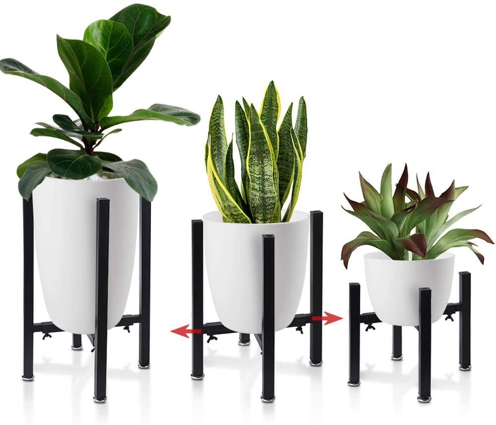 Iron Plant Stand Adjustable 3 Pack, Metal Flower Pot Planter Holder Stand Patio - Adjustable Width 8